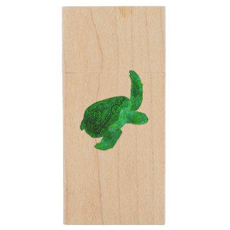 Tribal Green Sea Turtle Wood USB Flash Drive