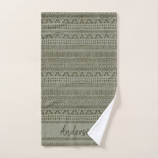 TRIBAL GREY COPPER BOHEMIAN PATTERN PERSONALISED BATH TOWEL SET