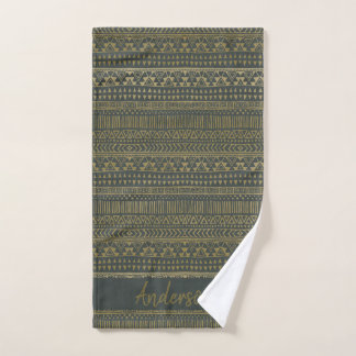 TRIBAL GREY GOLD BOHEMIAN PATTERN PERSONALISED BATH TOWEL SET