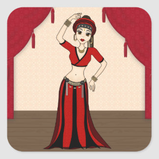 Tribal Gypsy Bellydancer in Red and Black Costume Square Sticker