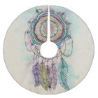 tribal hand paint dreamcatcher mandala design brushed polyester tree skirt