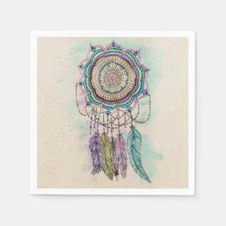 tribal hand paint dreamcatcher mandala design disposable napkins