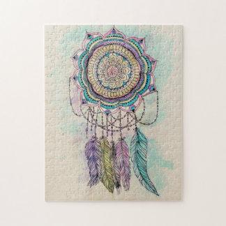 tribal hand paint dreamcatcher mandala design jigsaw puzzle