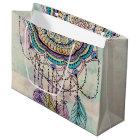 tribal hand paint dreamcatcher mandala design large gift bag