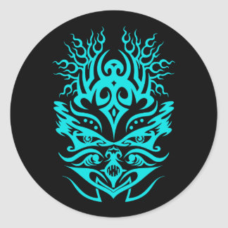 Tribal head cyan classic round sticker