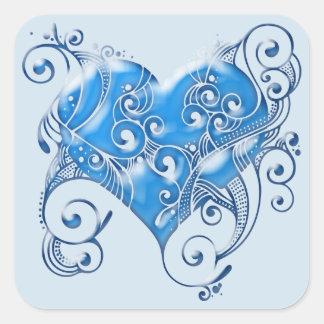 Tribal Heart Blue Sticker