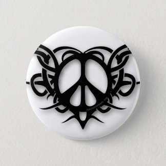 Tribal Heart Peace Sign 2 Inch Round Button