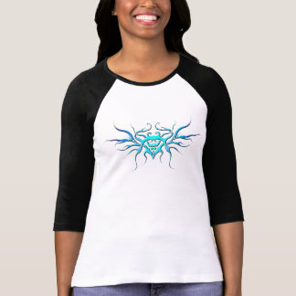 Tribal Heart with Wings Tattoo - blue T-shirts