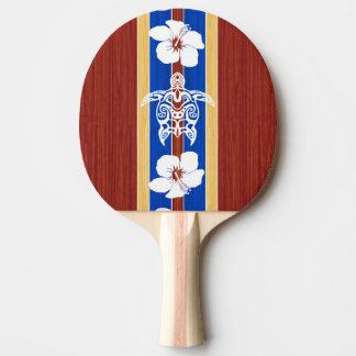 Tribal Honu Fake Wood Surfboard Ping Pong Paddle