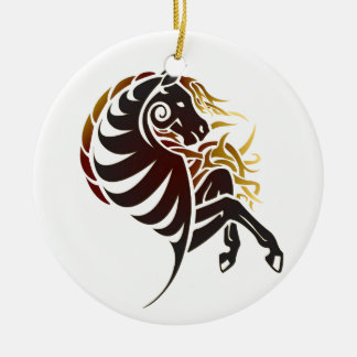 Tribal Horse Ceramic Ornament