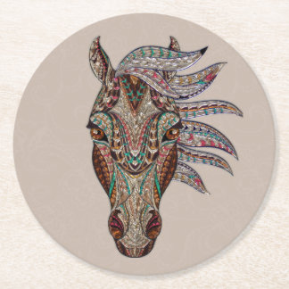 Tribal Horse Round Paper Coaster