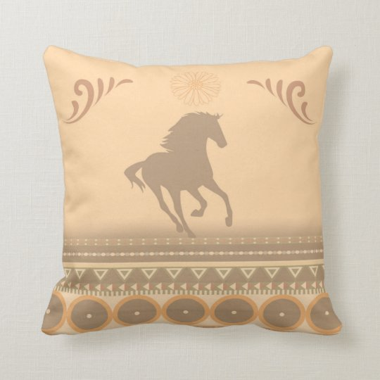 Tribal Horse Throw Pillow