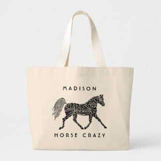 Tribal Horse Trotting Horse Crazy Carryall Fun Large Tote Bag
