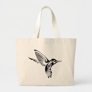 Tribal Hummingbird Silhouette Large Tote Bag