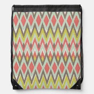 Tribal Ikat Drawstring Bag