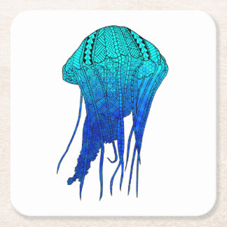 Tribal Jellyfish Square Paper Coaster
