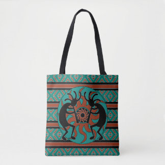 Tribal Kokopelli Southwest Turquoise Tote Bag