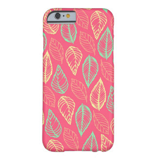Tribal leaves batik rustic chic hot pink pattern barely there iPhone 6 case