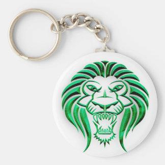 Tribal Lion Head-Green Keychain