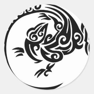 Tribal lizard circle classic round sticker