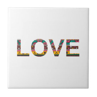 Tribal Love Word Art Tile