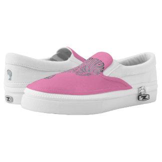 Tribal Manatee on Pink Slip-On Sneakers