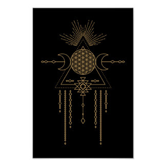 Tribal Mandala Line Art Geometry Moon Elements Poster