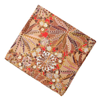 Tribal Mandala Print, Brown, Beige and Red Bandana