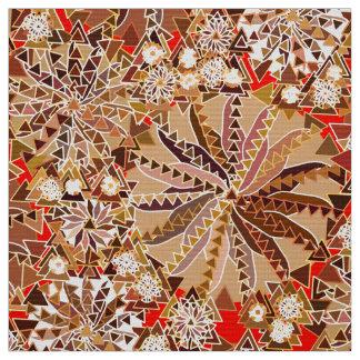 Tribal Mandala Print, Brown, Beige and Red Fabric