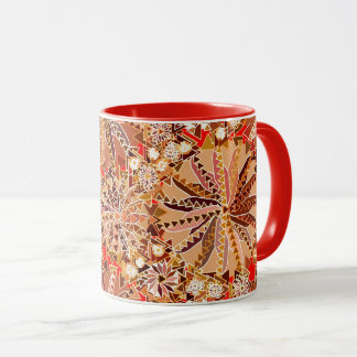 Tribal Mandala Print, Brown, Beige and Red Mug