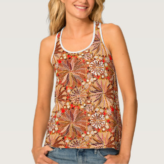 Tribal Mandala Print, Brown, Beige and Red Tank Top