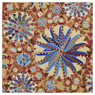 Tribal Mandala Print, Camel Tan and Denim Blue Fabric