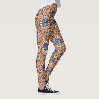 Tribal Mandala Print, Camel Tan and Denim Blue Leggings