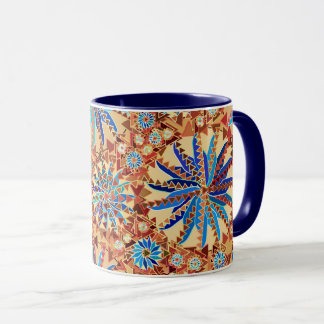 Tribal Mandala Print, Camel Tan and Denim Blue Mug