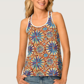 Tribal Mandala Print, Camel Tan and Denim Blue Tank Top
