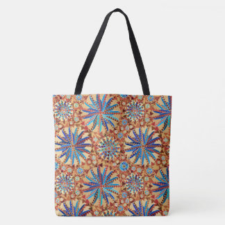 Tribal Mandala Print, Camel Tan and Denim Blue Tote Bag