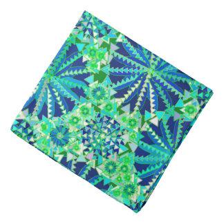 Tribal Mandala Print, Cobalt Blue and Green Bandana