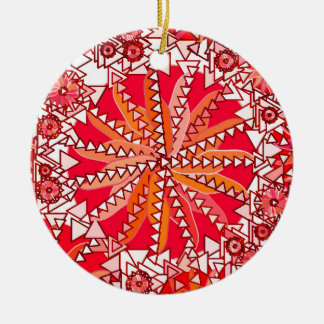 Tribal Mandala Print, Coral Red and White Ceramic Ornament