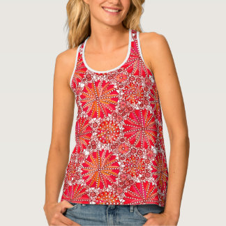 Tribal Mandala Print, Coral Red and White Tank Top