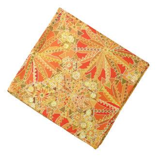 Tribal Mandala Print, Mustard Gold and Orange Bandana