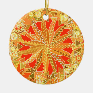 Tribal Mandala Print, Mustard Gold and Orange Ceramic Ornament
