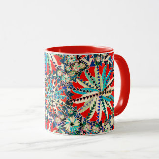 Tribal Mandala Print, Red, Blue and Cream Mug