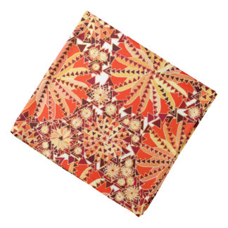Tribal Mandala Print, Rust Orange and Brown Bandana