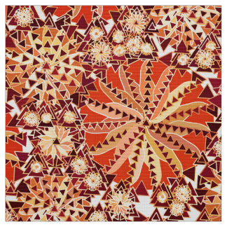 Tribal Mandala Print, Rust Orange and Brown Fabric