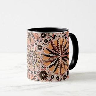 Tribal Mandala Print, Taupe Tan and Beige Mug