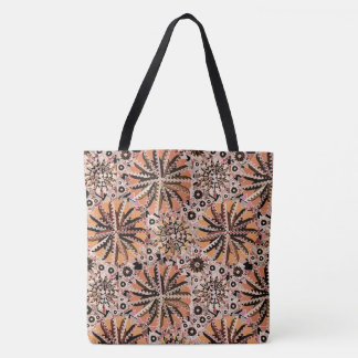 Tribal Mandala Print, Taupe Tan and Beige Tote Bag