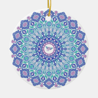 Tribal Manta Mandala on White Ceramic Ornament