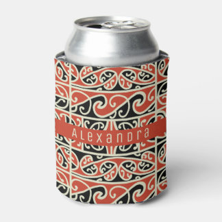 Tribal Maori Kowhaiwhai New Zealand Pattern Custom Can Cooler