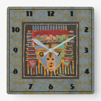 Tribal Mask 1 Square Wall Clock