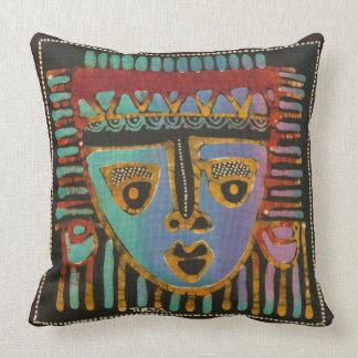Tribal Mask Batik 2 Throw Pillow